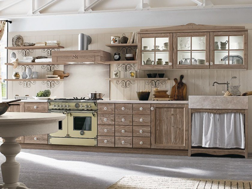 Linear wooden kitchen EVERY DAY | Linear kitchen by Callesella Arredamenti
