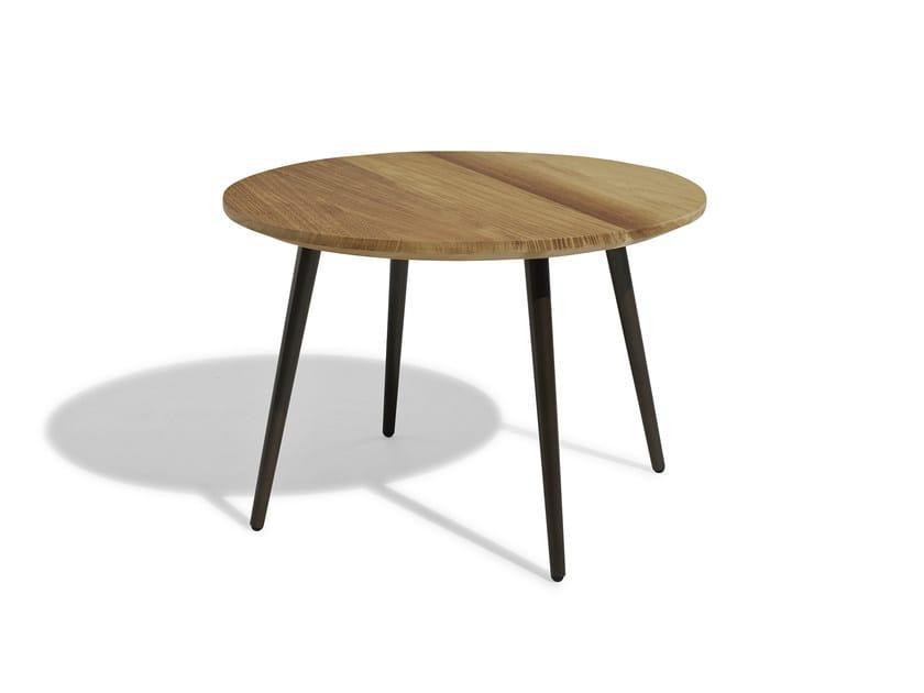 Low round iroko garden side table VINT   Iroko coffee table by Bivaq