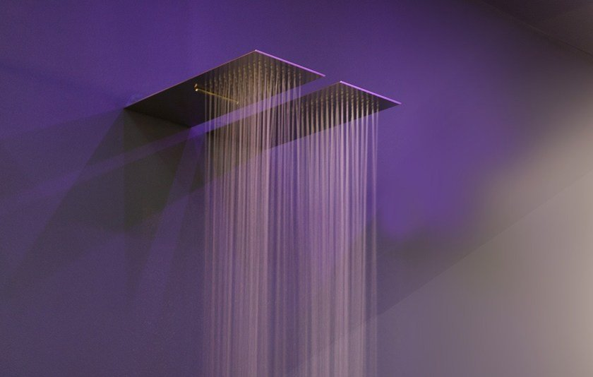 Wall-mounted extra flat stainless steel overhead shower LASTRA by Antonio Lupi Design