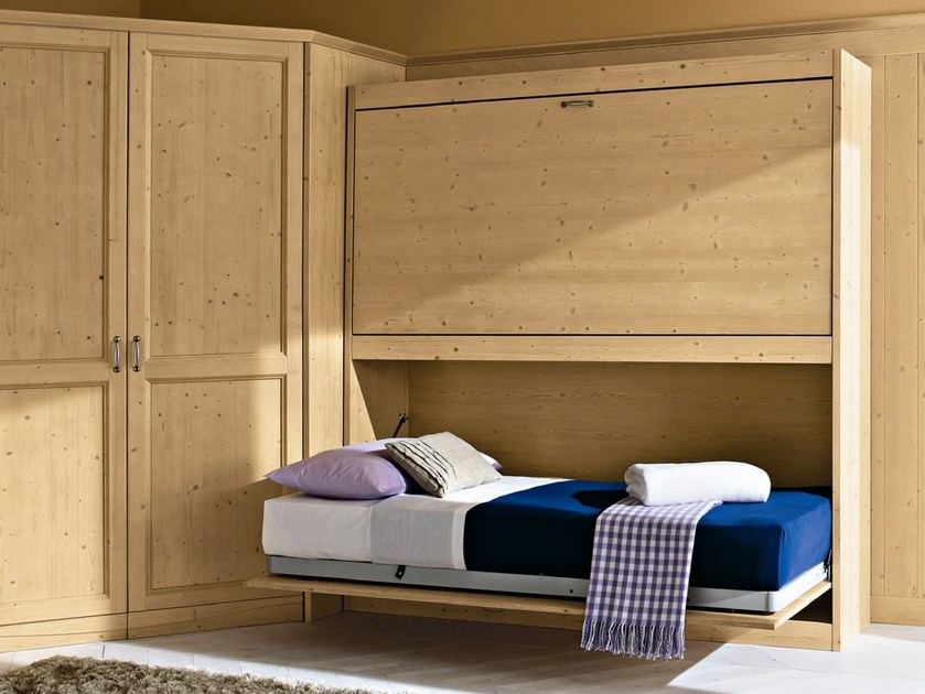 Pull-down wooden single bed EVERY DAY NIGHT | Composition 09 by Callesella Arredamenti