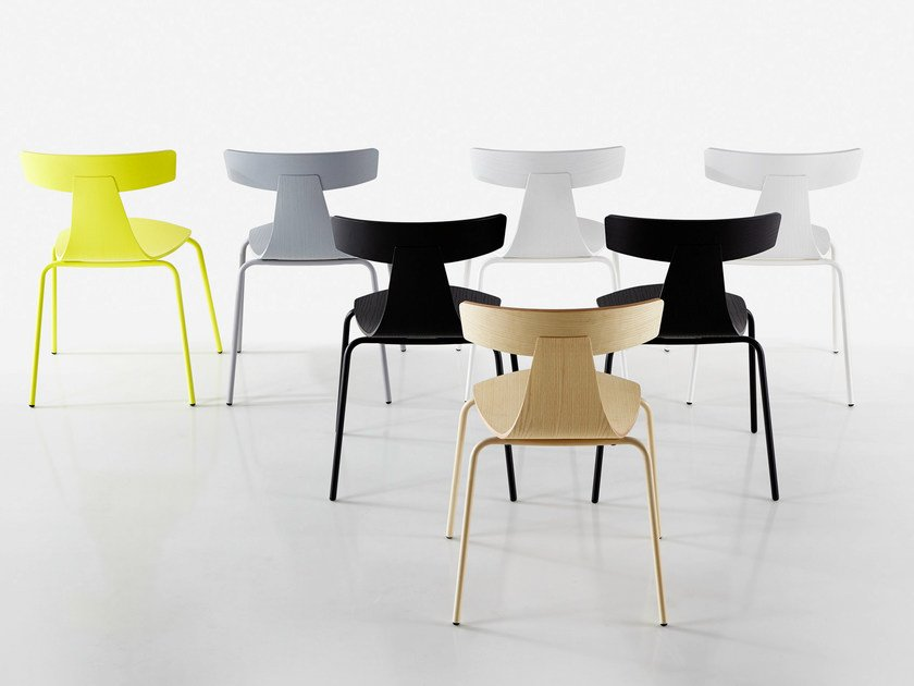 Stackable plywood chair REMO METAL by Plank