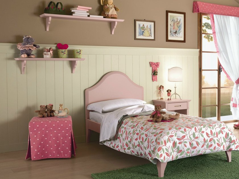 Wooden bedroom set for girls ROMANTIC | Composition 02 by Callesella Arredamenti