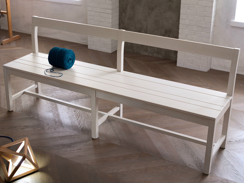 Wooden bench with back Bench by Callesella Arredamenti