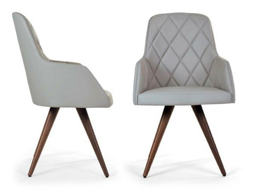 Upholstered leather chair MARLÈNE WOOD CONE | Tufted chair by Riccardo Rivoli