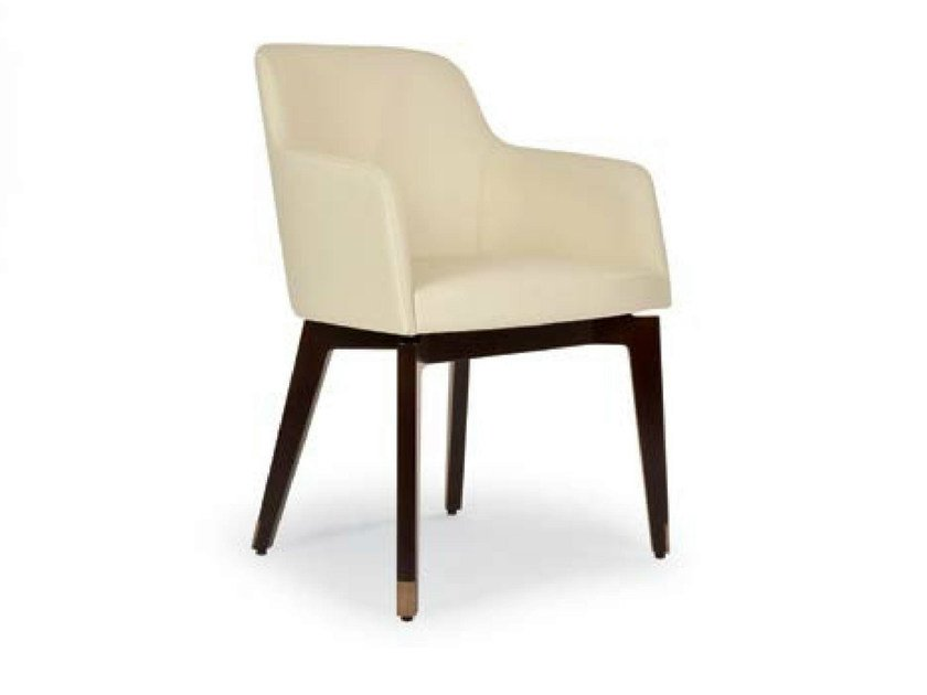 Upholstered leather chair with armrests MARLÈNE WOOD | Leather chair by Riccardo Rivoli