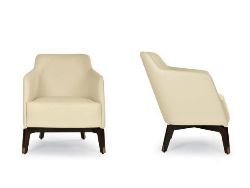 Upholstered leather armchair with armrests MARLÈNE LOUNGE by Riccardo Rivoli