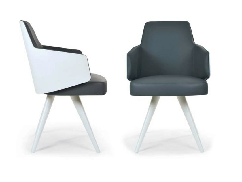 Upholstered chair with removable cover with armrests MIA | Chair with removable cover by Riccardo Rivoli