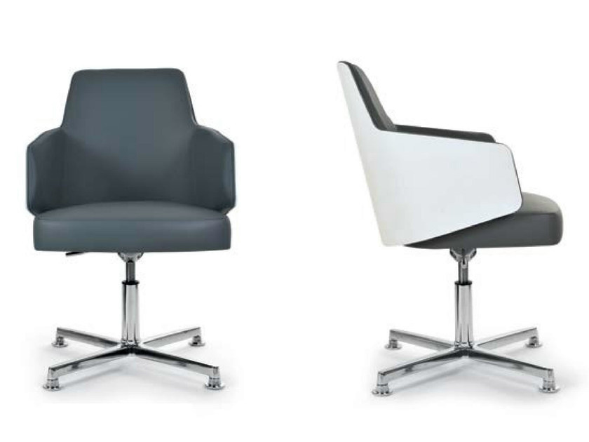 Swivel chair with 4-spoke base with armrests MIA TECNO by Riccardo Rivoli