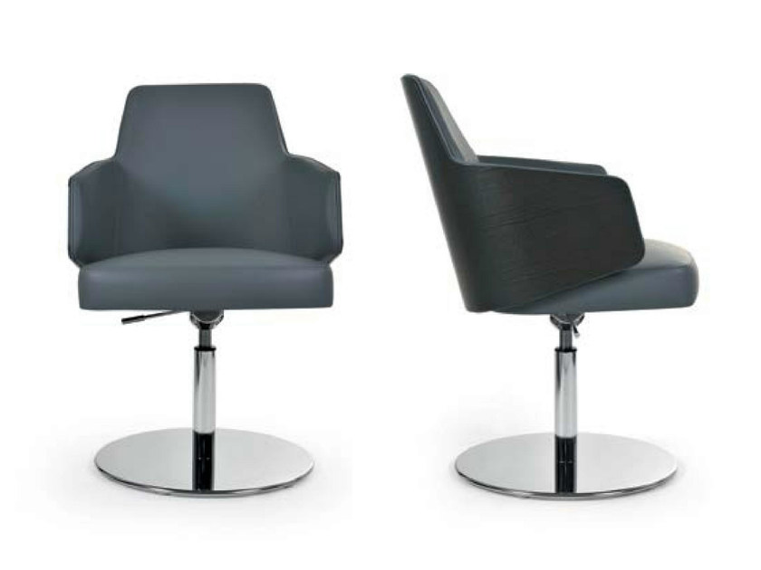 Swivel height-adjustable chair with armrests MIA ROUND | Height-adjustable chair by Riccardo Rivoli