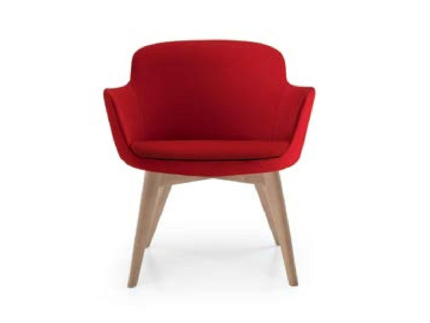 Upholstered fabric easy chair with armrests FLEUR WOOD by Riccardo Rivoli