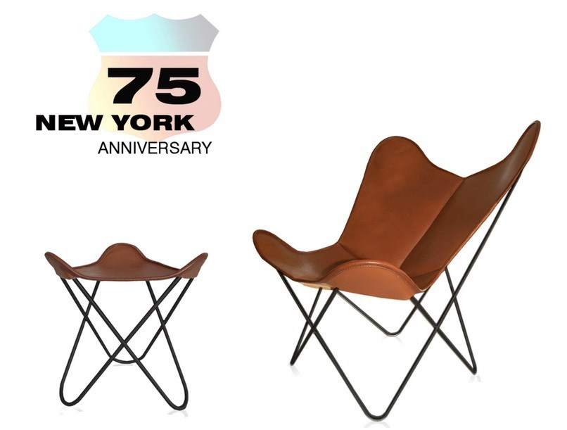 Tanned leather armchair with footstool HARDOY BUTTERFLY CHAIR 75TH ANNIVERSARY by Weinbaums