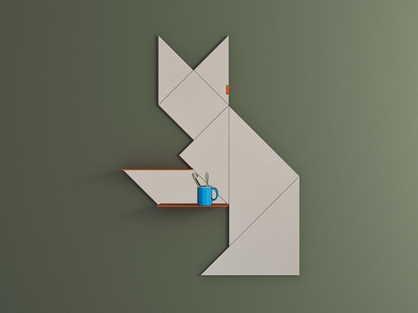 Wall-mounted mirror with shelf TANGRAM | Mirror by Lago