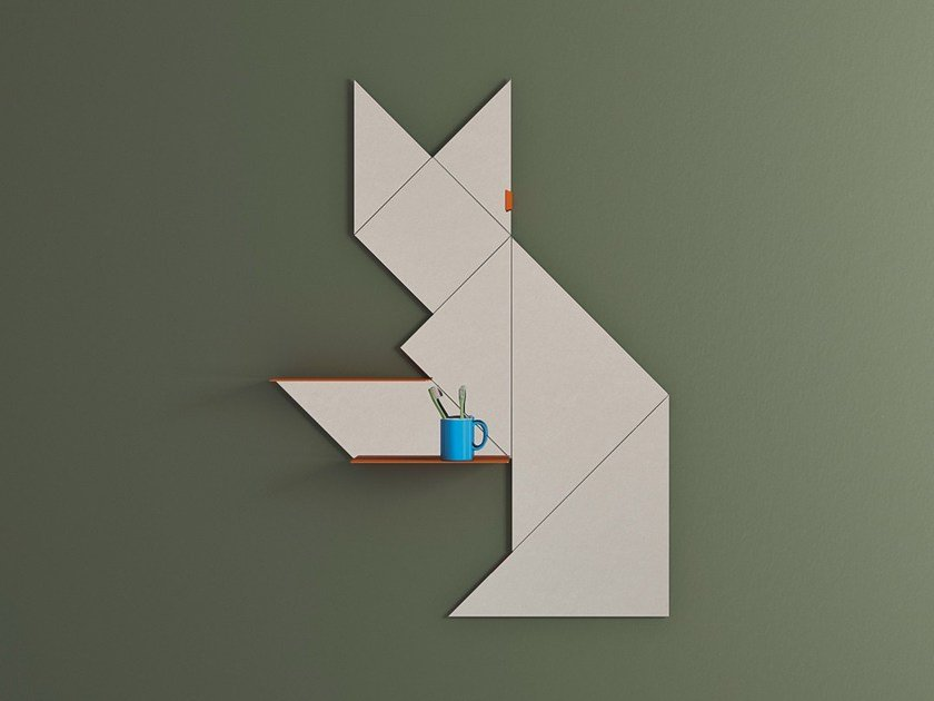 Wall-mounted mirror with wall shelf TANGRAM | Mirror by Lago