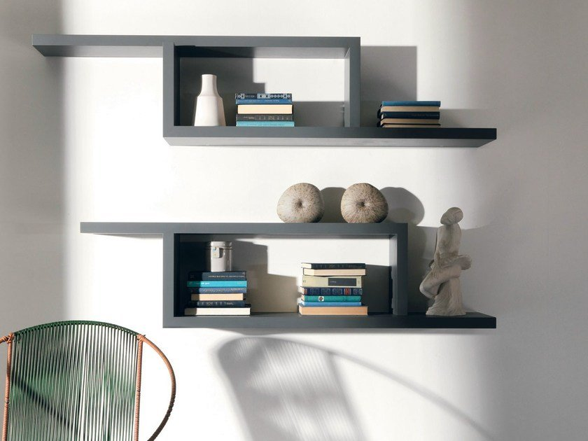 Open wall-mounted bookcase PONTACCIO by Lago