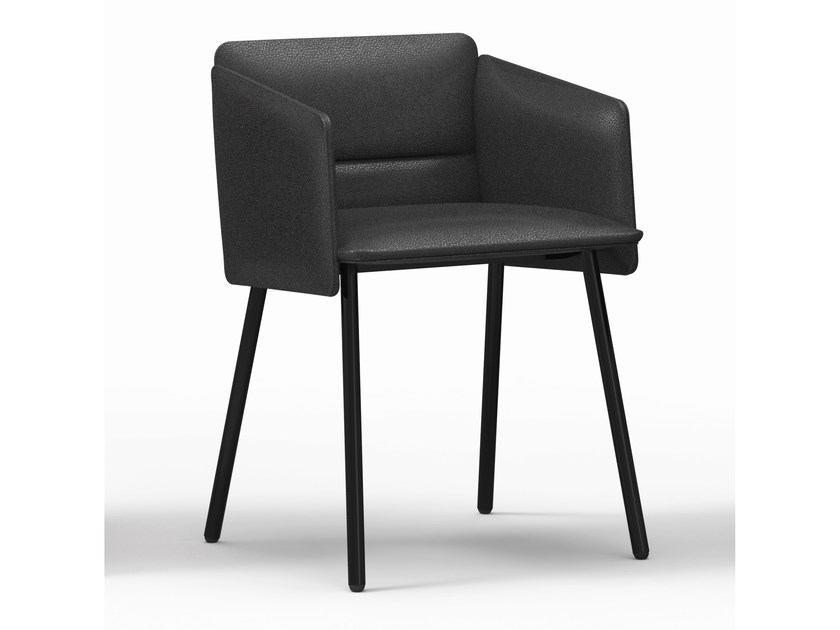Upholstered leather chair with armrests AURA | Leather chair by Crassevig