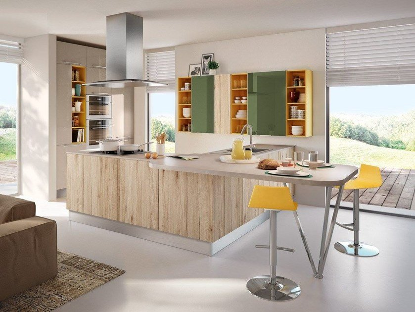Kitchen with peninsula SWING | Kitchen with peninsula by Cucine Lube