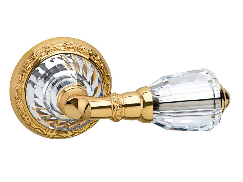 Gold colour door handle with polished finishing on rose 0R6263.000.01 | Door handle by Bronces Mestre