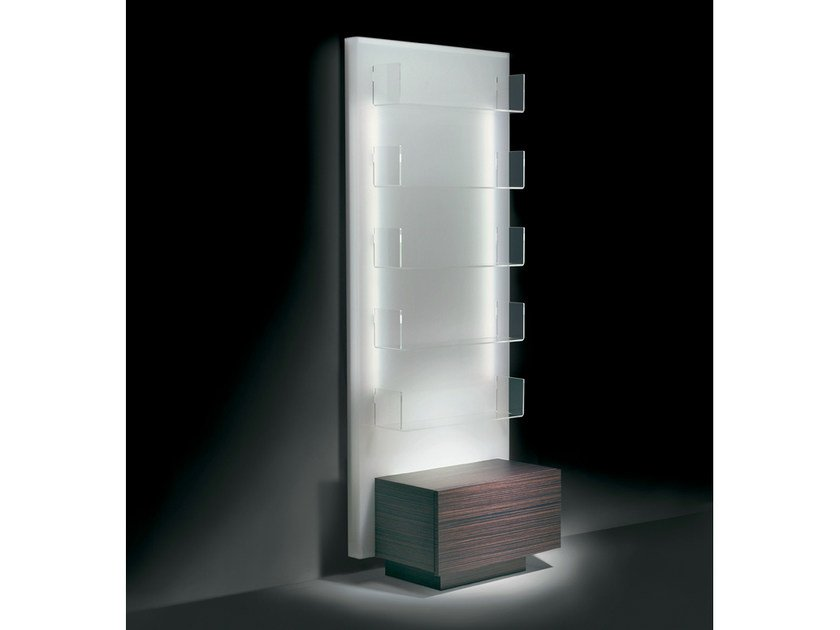 Wall-mounted salon display unit with light GLOWALL DISPLAY ST by Gamma & Bross