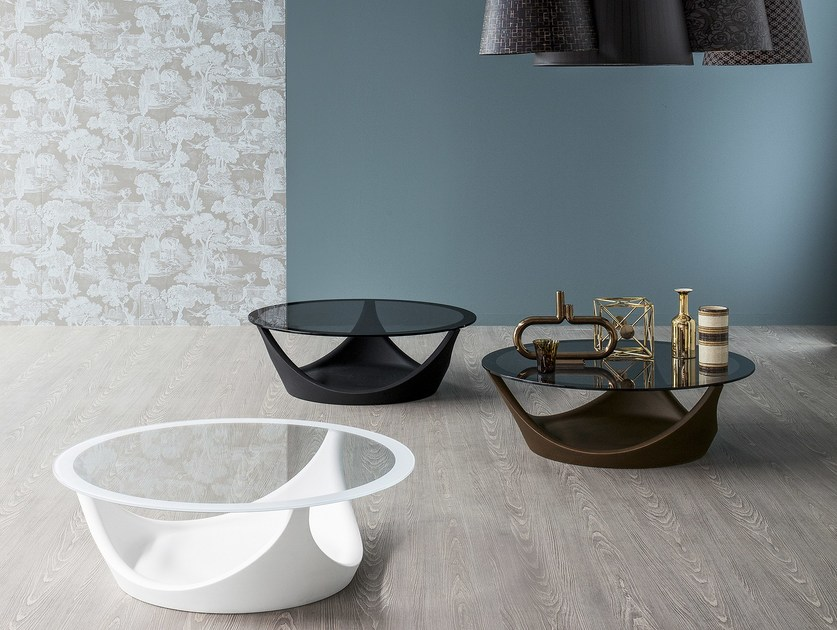 Low glass coffee table for living room ARVO by Bonaldo
