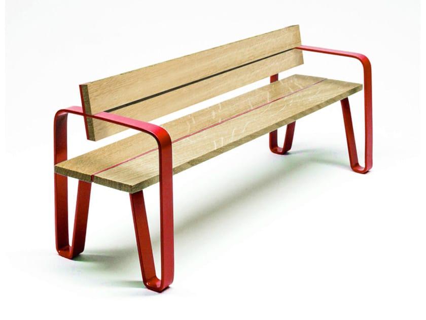 Panchina in acciaio e legno con schienale COURT | Panchina con schienale by LAB23