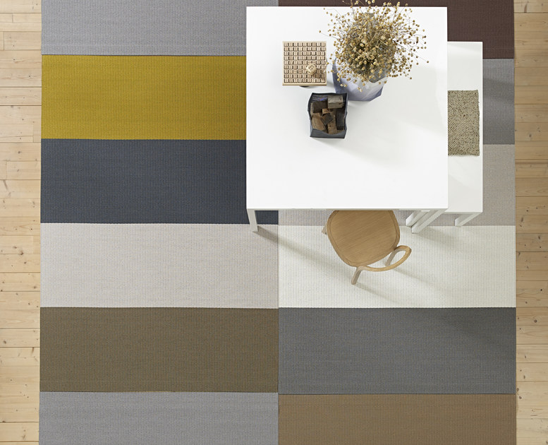 Striped rectangular paper yarn rug FOURWAYS by Woodnotes