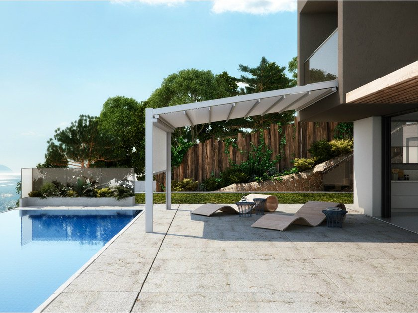 Wall-mounted aluminium pergola with sliding cover FUSION by PRATIC F.lli ORIOLI