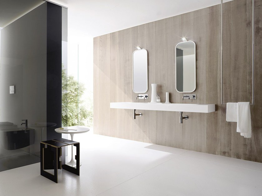 Double washbasin with integrated countertop MOODE | Double washbasin by Rexa Design