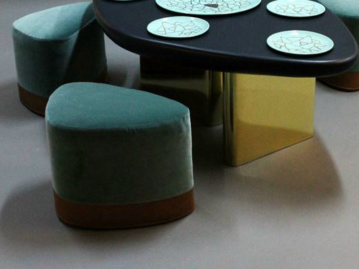 Low upholstered fabric stool SATEL by Binome