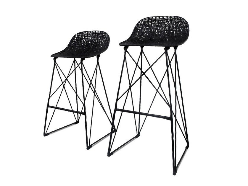 Sled base stool with footrest CARBON BAR STOOL by moooi