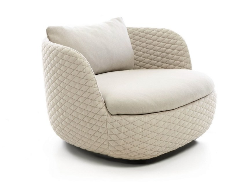 Upholstered armchair with armrests BART SWIVEL by moooi