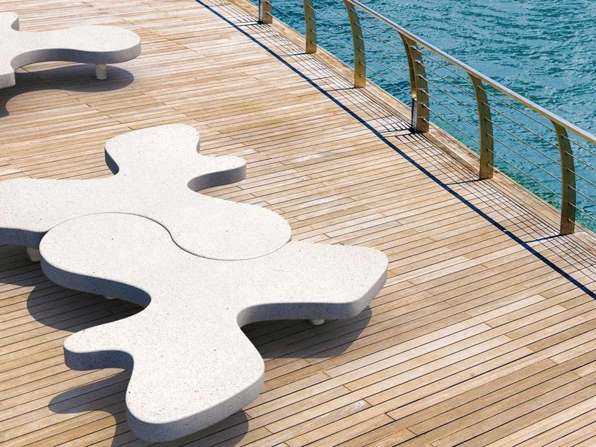 Modular reconstructed stone Bench NATURAL PUZZLE   Bench by Metalco