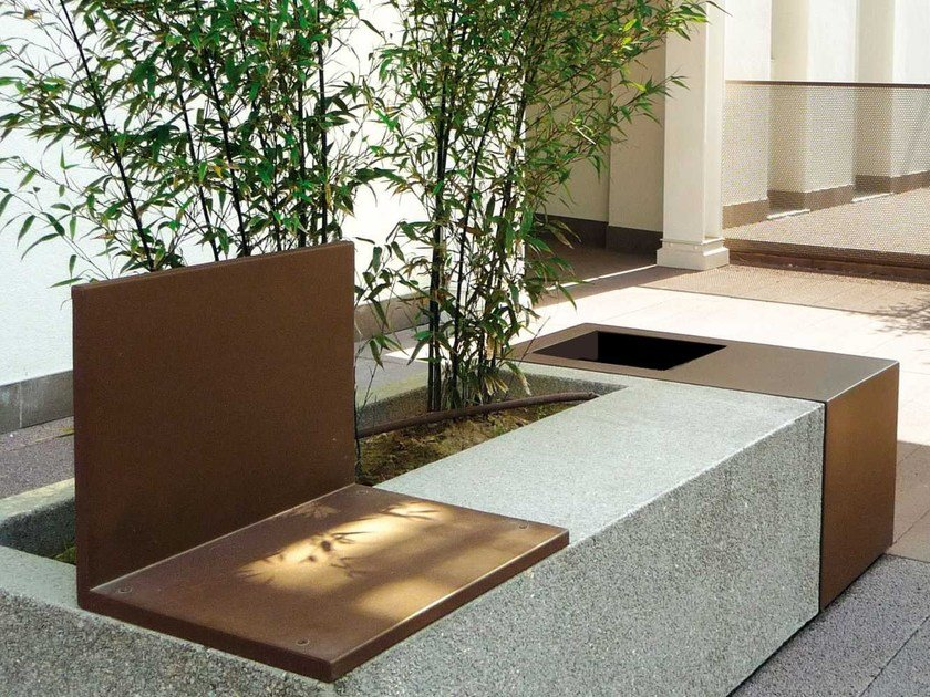 Modular Bench with Integrated Planter MAMUÀ | Modular Bench by Metalco