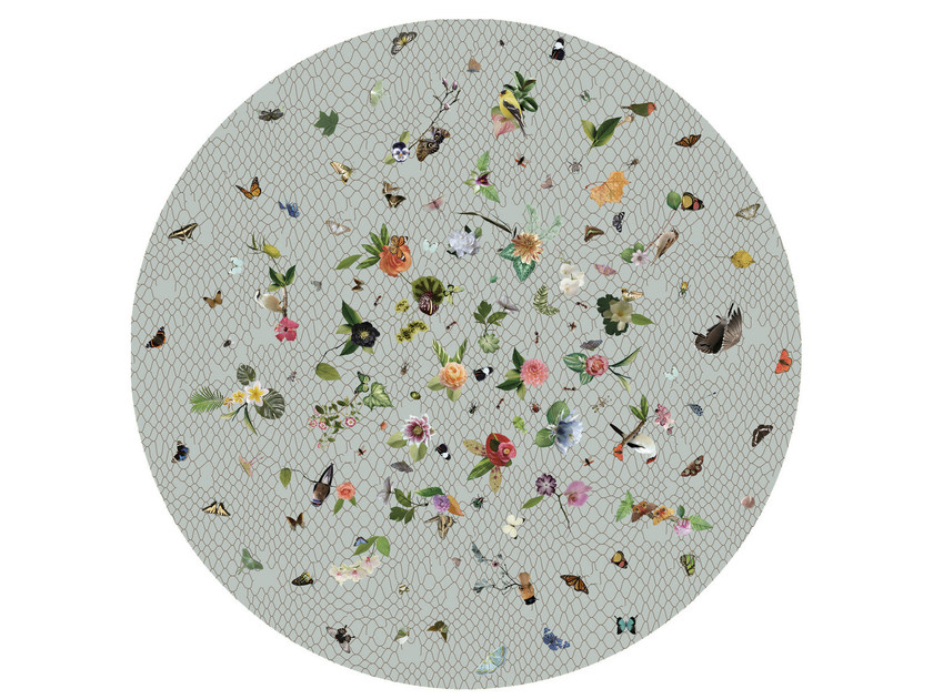 Round rug with floral pattern GARDEN OF EDEN LIGHT GREY by moooi