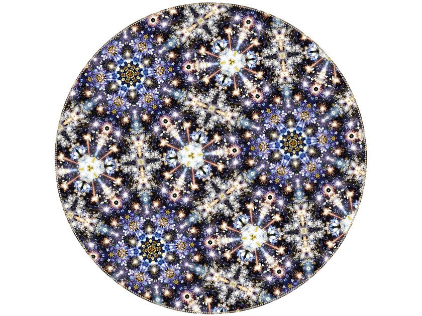 Patterned round rug FESTIVAL MIDNIGHT by moooi