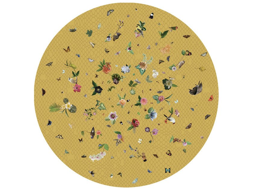 Round rug with floral pattern GARDEN OF EDEN YELLOW by moooi