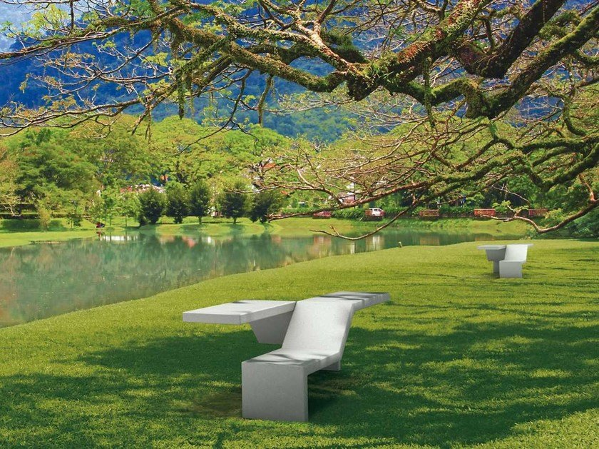 Modular backless reconstructed stone Bench TWIN | Bench by Metalco