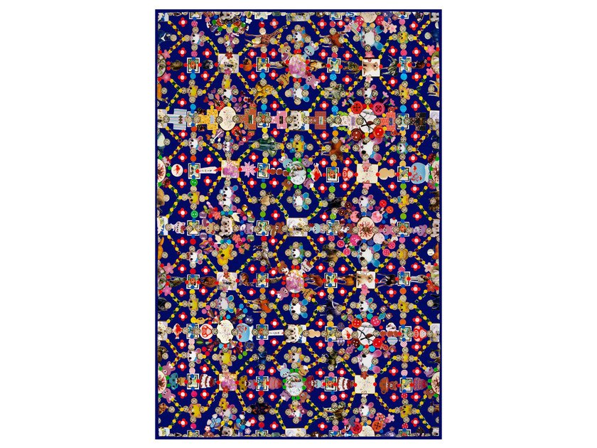 Patterned rectangular rug OBSESSION BLUE by moooi