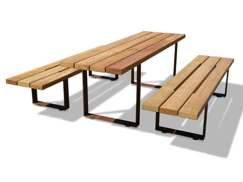 Rectangular wooden picnic table PIC BULL | Picnic table by Metalco