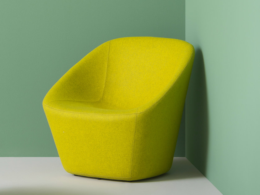 Upholstered fabric armchair with armrests LOG LOUNGE | Guest chair by PEDRALI