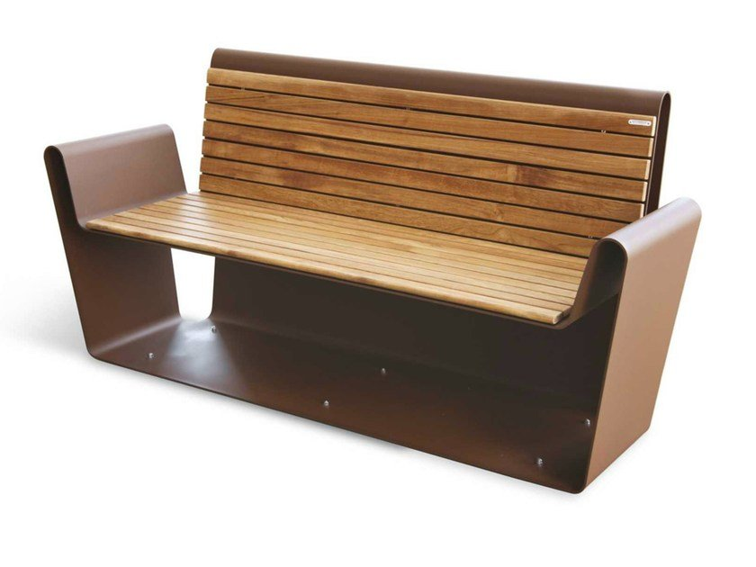 Corten™ Bench with armrests CLUB A-B | Bench by Metalco
