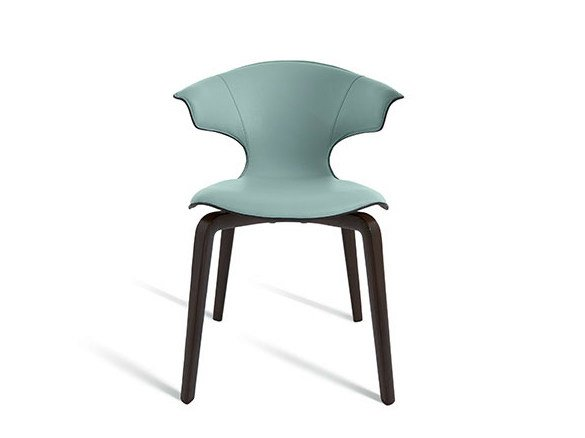 Stackable leather chair MONTERA | Stackable chair by Poltrona Frau