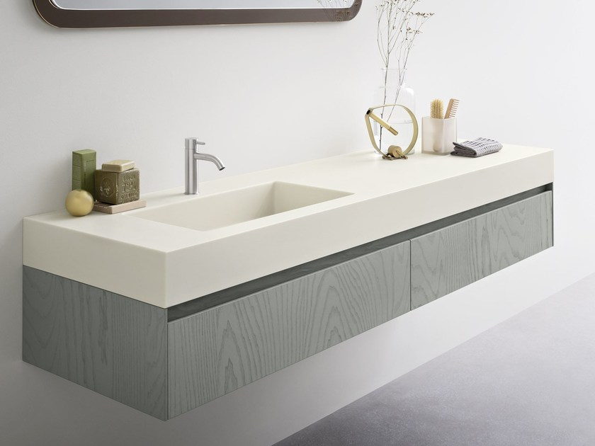 Corian® washbasin with integrated countertop MOODE | Washbasin with integrated countertop by Rexa Design