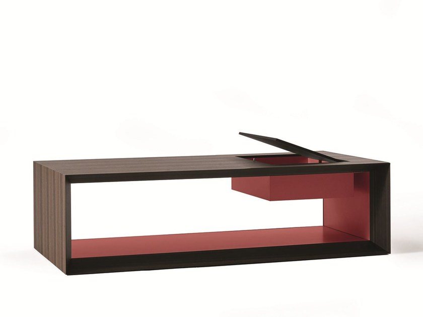 Eucalyptus coffee table with integrated magazine rack for living room STAGE | Coffee table by Molteni&C