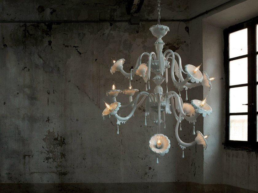 Glass chandelier AU REVOIR | Chandelier by Karman