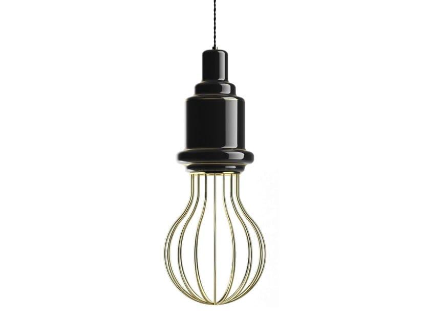 Direct-indirect light ceramic pendant lamp EDISON BIG A | Pendant lamp by MARIONI