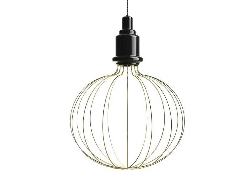 Direct-indirect light ceramic pendant lamp EDISON BIG B | Pendant lamp by MARIONI