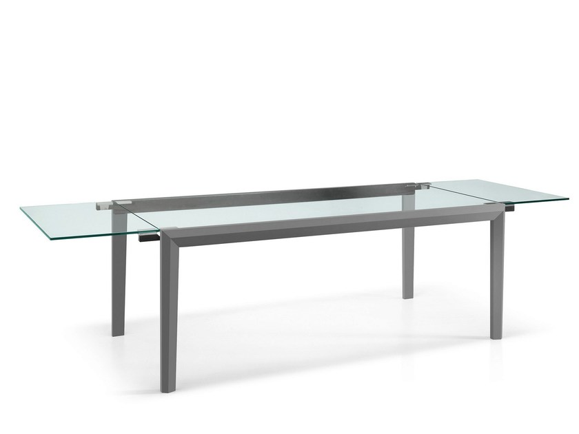 Extending rectangular wood and glass table LAPSUS by Tonelli Design