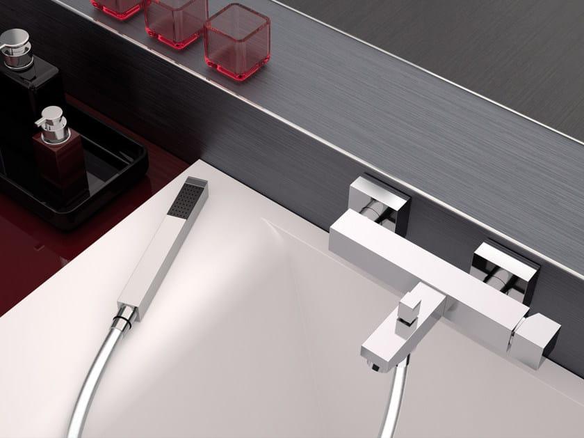 Wall-mounted single handle bathtub mixer with hand shower OXY   Bathtub mixer with hand shower by Daniel Rubinetterie