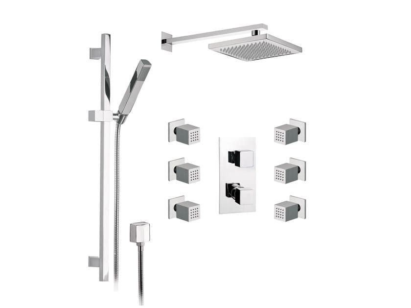 Chromed brass shower wallbar with hand shower with mixer tap OXY | Shower wallbar with hand shower by Daniel Rubinetterie