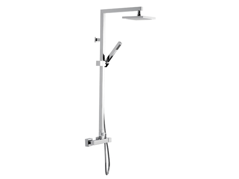 Wall-mounted chromed brass shower panel with hand shower OXY | Wall-mounted shower panel by Daniel Rubinetterie